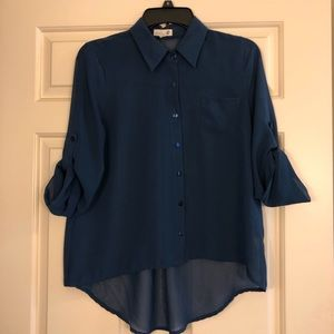 Sheer button-down collared shirt in navy blue